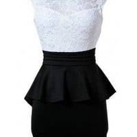 The Barcelona Black & White Peplum Dress