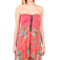 zip front bra bodice floral printed high low dress - 400003595495 - debshops.com