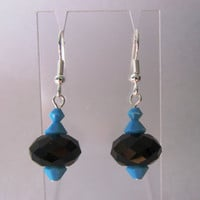 Black And Turquoise Earrings, Purple and Black Earrings, Red and AB Crystal Earrings, Green and Black Earrings, Crystal and Turquoise Earrin