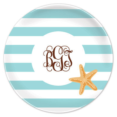 Personalized Stripe Starfish Melamine Plate