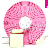 iPhone 5 Charger XXL - 10 ft Long Flat Noodle iPhone 5 Charger (Pink)