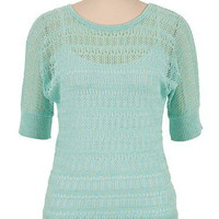 Lurex Pointelle Stitch Dolman Sweater