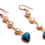 cygnus - 14k gold pearl earrings by lilla stjarna - ft. freshwater pearls, turquoise - gifts under 50 -  Pearl Drops, Natural Pearl Earirngs
