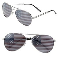 Junior Women's BP. American Flag Aviator Sunglasses - Silver/ Red/ White