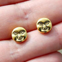 Gold Face Stud Earrings from Black Tied
