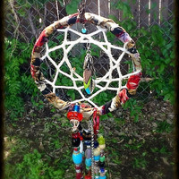 Beaded Dream Catcher wind chime - garden art - whimsical native american art