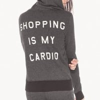Wildfox Couture Shopping is My Cardio Track Suit Jacket in Clean Black
