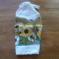 Delightful Daisy Hanging Kitchen Towel With Hand Knit Topper and Ties