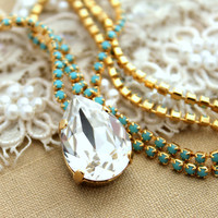 White Crystal turquoise Swarovski necklace,Bridal necklace, wedding jewelry,bridesmaid jewelry - Plated 14 k gold
