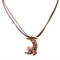 Vintage Multicolor Rhinestone Crescent Pendant Leather String Necklace at Online Cheap Vintage Jewelry Store Gofavor