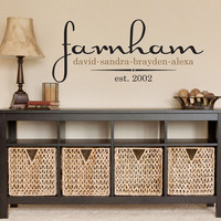 Family Name Decal Personalized Vinyl with First Names & Established Date for Foyer Entry Way Living Room Wall 15H x 36W FN009