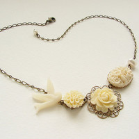 Bridesmaid jewelry, Ivory Bird Flower Statement necklace, Bridal wedding dove peral floral jewelry wedding jewelry