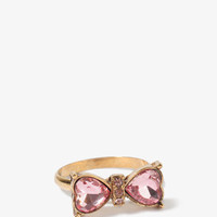 Rhinestoned Heart Bow Ring