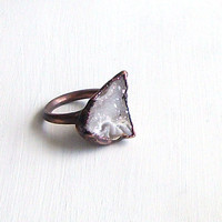 Druzy Ring Gemstone Ring Geode Ring Cocktail Ring Winter Snow Rough Stone Ring White Crystal Handmade Raw Artisan