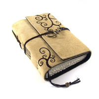 Overswirled Leather Journal Handmade Suede Diary by Kreativlink