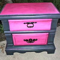 Pink &amp; Black Vintage Headboard and Nightstand /Distressed Bedroom by AquaXpressions
