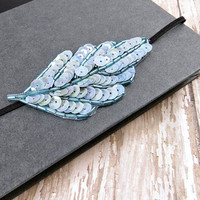 Sequin Leaf Headband, Ice Mint Beaded Headband Fashion accessories for Women Teens by Flower Couture