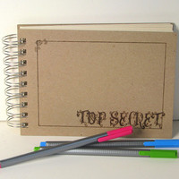 SALE 33% off TOP SECRET Scrapbook - Pyrography - 5x7 recycled scrapbook album