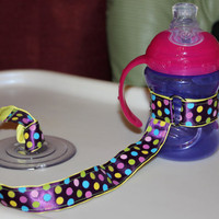 Dotted Sippy Strap with suction cup by ChunksBabyJunk
