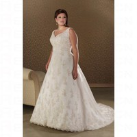 Fashionable White Satin A line V neck Floor Length Plus Size Wedding Dress - Wedding Dresses - Apparel