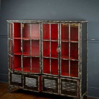 Iron Bookcase in Black Finish Outside-Red Finish Inside