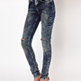 ASOS Ridley Supersoft High Waisted Ultra Skinny Jeans In Acid Wash With Rips at asos.com