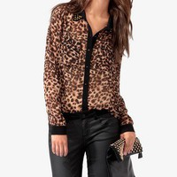 Animal Print Studded Collar Shirt | FOREVER 21 - 2017362614