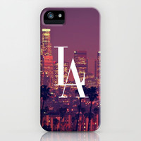 Downtown LA Vintage Skyline Typography iPhone & iPod Case by RexLambo