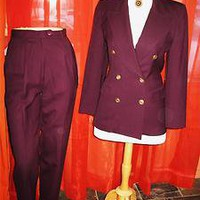 TALBOTS SUIT PANTS W JACKET PURPLE LINED W GOLDEN BUTTONS!S 4 MADE IN COLOMBIA !