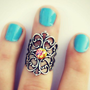 pink opal silver knuckle ring