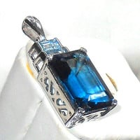 10.00ctw London Blue Sky Blue Topaz Pendant Octagon cut