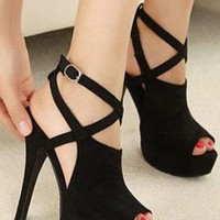 Ladies HighHeel Peeptoe Strappy Evening Party Shoes In BLACK from NaomiShu