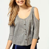 Connie Cut Out Shoulder Button Through Crop Top