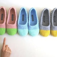 Crochet Slippers For Women - Apple Green And Pink
