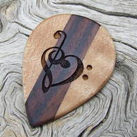Handmade Premium Wood Guitar Pick - Bolivian Rosewood and Hard Maple - Treble and Bass Clef Heart