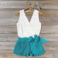 Pintucks & Chiffon Romper, Sweet Women's Bohemian Clothing