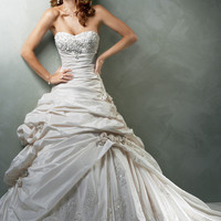 White Taffeta with Pewter Embellishment Rose Applique Strapless SaBelle Wedding Gown - Unique Vintage - Prom dresses, retro dresses, retro swimsuits.