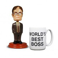 The Office Dwight Schrute Bobblehead & Worlds Best Boss Mug Set