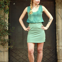 Layered funky mini dress, Eco-friendly cotton dress, Green mint dress
