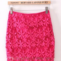 Pink Lace Crochet Bud Skirt  S010836