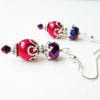 Purple Crystal &amp; Red Glass Pearl Victorian Style Earrings