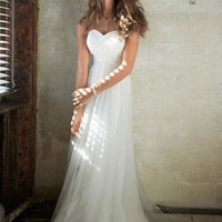 Swiss Dot Tulle Empire Waist Soft Wedding Gown - David's Bridal - mobile