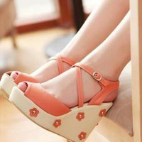 Flowers Wedge Sandals