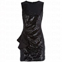 Bqueen Soft Draped Sequin Dress Black K148H - Evening Dresses - Special Occasion Dresses - Apparel