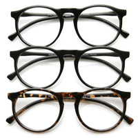 Indie Retro Round Clear Lens Fashion Glasses 8710 [3 Pack]