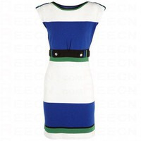 Bqueen Color Blocked Knitted Dress K054E - Evening Dresses - Special Occasion Dresses - Apparel