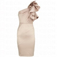 Bqueen Sculptural Frill Dress Apricot K088X - Evening Dresses - Special Occasion Dresses - Apparel