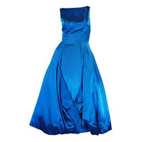 Estevez 1950s Blue Silk Satin