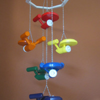 NEW - USS Starship Enterprise Nursery Ceiling Mobile - Star Trek - Rainbow Colors