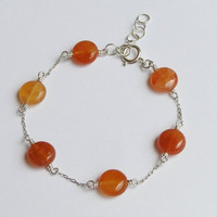 Carnelian Bracelet - Sterling Silver Chain Bracelet with Shades of Orange - Tangerine